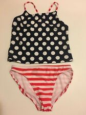 2-Piece Op Girl Swim Suit Tankini Set XL 14-16 Swimwear Polka Dot Blue UPF 50+