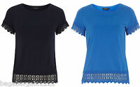 DOROTHY PERKINS SUMMER BRODERIE JERSEY COTTON TOP BLACK BLUE TUNIC SIZE 8-20