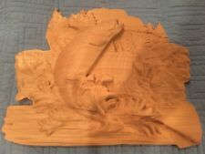 2.5 D Fish Jumping Out Of Water Carved Decoration, knotty alder wood. Rustic.