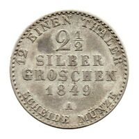 KM# 444 - 2 & 1/2 Silber Groschen - Kingdom of Prussia - German States 1849A (F)