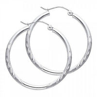 "Solid 14K White Gold 2.0mm Diamond Cut Satin High Polished Hoop 1 1/4"" Earrings"