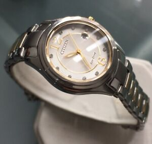 Ladies Genuine Citizen Eco Drive Solar Watch Two Tone Sunburst Crystal Date