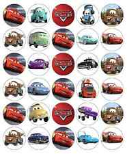 30 Disney Cars Lightning Mcqueen Cupcake Toppers Edible Wafer Fairy Cake Topper