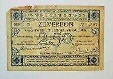 RARE! Netherlands 2½ Gulden 1917 Zilverbon (01-08-1917 type4) Silver note - n834