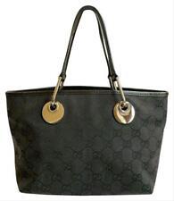 """Authentic Gucci Monogram Black Canvas Leather """"MINI"""" Eclipse Tote Handbag 120844"""