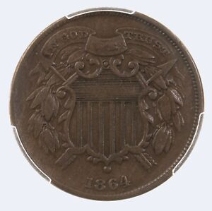 1864 Two Cent 2C PCGS CAC Certified VF30 Small Motto