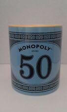 Hasbro Monopoly Money $50 Bill 12 oz Coffee Tea Blue Stoneware 2015 Mug Cup