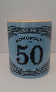 Hasbro Monopoly Money $50 Bill 12 oz Coffee Tea Blue Stoneware 2015 Mug Cup