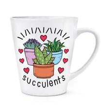 Suculentas y Corazones 341ml Latte Taza - Divertido Planta Broma