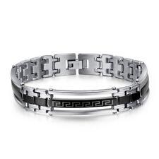 TT Silver/Black Stainless Steel Greek Key Bracelet (BBR248) NEW