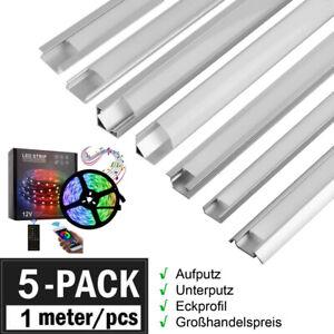 5x 1m LED Profil Aluprofil Schiene oder 5m LED Stripe RGB Leiste Streifen Band