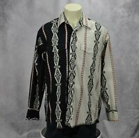 Wrangler Men's Aztec Striped Pockets Long Sleeve Snap-Front Shirt Black Size XL
