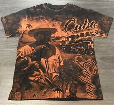 Cuba All over Print T-Shirt Men's Small Caribbean island Tee Black