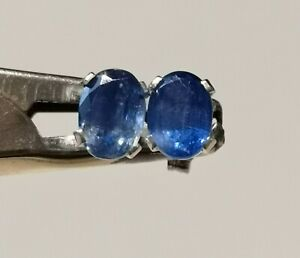 Genuine Nepalese Kyanite 2.14ct 7x5mm Oval Stud 925 Sterling Silver Earrings