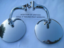NEW SET VINTAGE STYLE 4 INCH ROUND GLASS PEEP SIDE VIEW MIRRORS 38 39 47 49 51