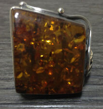Sterling Silver Square Dark Honey Amber Ring Size 9