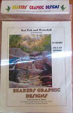 "Beakers Graphic Designs Cross Stitch Pattern only #782 ""KOI FISH & WATERFALL"""