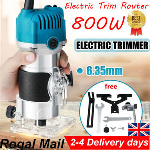 """Electric Hand Trimmer Palm Router Laminate Wood Laminator 800W 220V 1/4"""" UK"""