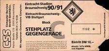 Ticket 90/91 Eintracht Braunschweig - VfB Stuttgart