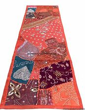 Embroidered Orange Tapestry Wall Hanging Table Bed Runner Sequins Indian Decor