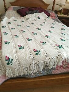 Red Roses on White Afghan Hand Crocheted 54 x 56