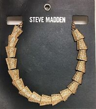 Cone Shape Beads Statement Necklace New Steve Madden Gold Tone,Textured,Chain