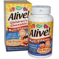 Vivo! Multi-Vitamin -120 niños masticable Naranja/Berry Pestañas-Nature 's Way