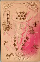 Patriotic July 4th~Pink Red Airbrushed Uncle Sam~Firecrackers~Gold Leaf Emboss