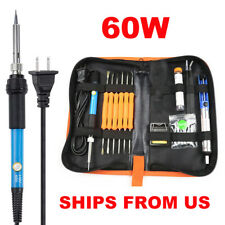 Soldering Iron Kit 60w Welding Tool Solder Tips Station Desoldering Pump Wire Us
