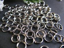 100 Spaltringe 6 mm platinfarben, Schmuck mit Perlen basteln, Binderinge doppelt