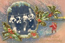 1914 English Bulldog Puppy Dogs & Santa  LARGE New Blank Christmas Note Cards