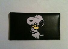 Snoopy & Woodstock Black Leather Checkbook Cover