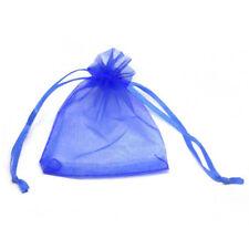 100X Schmuckbeutel Säckchen Organza Beutel blau GY
