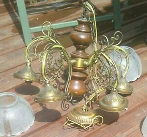 Vintage Chandelier Ceiling Light Fixture Brass & Wood 5 Bulbs W Glass Covers