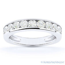 Round Cut Moissanite Channel-Set Anniversary Ring Wedding Band in 14k White Gold