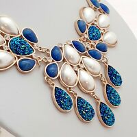 Unique Stunning Vintage Style Blue & Pearl Statement Bib BOHO Necklace