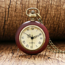 Red Wood Edge Roman Numeral Quartz Pocket Watch 80cm Necklace Pendant Chain