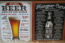 HOW TO ORDER A BEER/ HANGOVER CURES: SET OF 2  40X30CM  METAL SIGNS, BAR/PUB