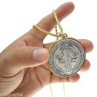 "Medalla De San Benito 48mm Medal Saint St Benedict Pendant 24"" x 3MM Rope Chain"