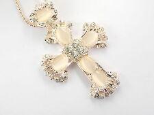 Betsey Johnson Rhinestone Opal Cross Pendant Necklace # F259