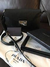 Prada Saffiano Handbag - Sound Crossbody in black leather