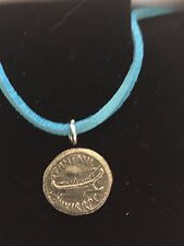 """Mark Antony Denarius Coin WC70  English Pewter On a 18"""" Blue Cord Necklace"""