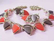 Fab Vintage 1950s red grey lucite thermoset necklace earring set demi*midcentury