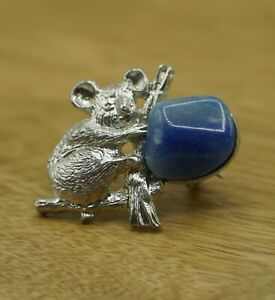 Silver Colored Metal Koala Bear Pin Brooch with Blue Stone