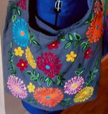 Urban Barn embroidery floral print large gray fabric bag tote purse