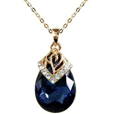 Navachi Drop Sapphire Blue Zircon Crystal Necklace Pendant BH6016