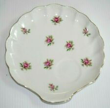 Vintage Hinode Japan White Porcelain Shell Luncheon Plate Roses Gold edge