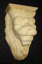 VINTAGE BIG LION SCULPTURE WOOD CARVED WALL SHELF CORBEL BEAUTIFUL PATTERN