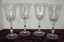 (4) VINTAGE CAMBRIDGE ELEGANT ETCHED GLASS WATER GOBLETS ROSE POINT 1934 AS IS