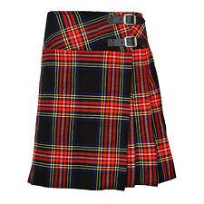"""Ladies Knee Length Black Stewart Kilt Skirt 20"""" Length Tartan Pleated"""